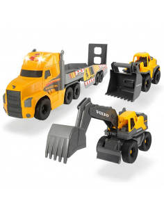 Camion Dickie Toys Mack Volvo Heavy Loader Truck cu remorca