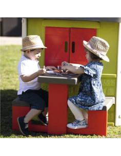Masa de picnic cu doua banci Smoby pentru casuta Jura Lodge