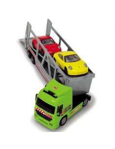 Camion Dickie Toys cu trailer si 2 masini Porsche