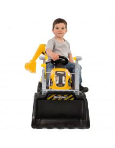 Tractor cu pedale si remorca Smoby Builder Max galben