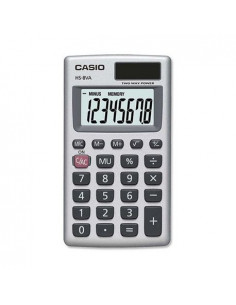 Calculator de buzunar Casio HS-8VA, 8 digits, argintiu