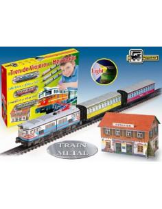Trenulet electric calatori cu far si macheta (colorat)